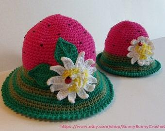 CROCHET HAT PATTERN, Crochet Sun Hat, Strawberry Pattern, Summer Hat Pattern with Flower, Crochet Pattern, Child, Kids, Girl, Watermelon hat