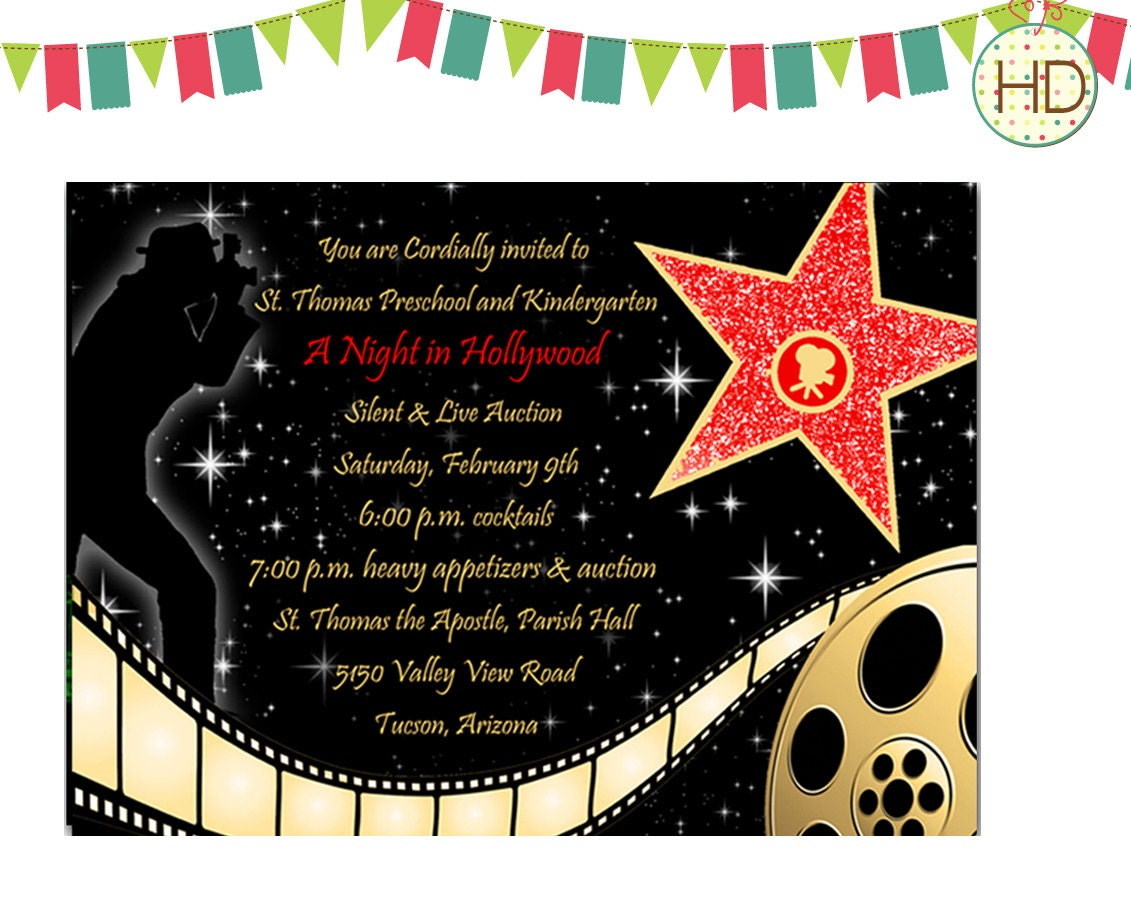 Hollywood Star Movie Film Strip Red Carpet By HDInvitations