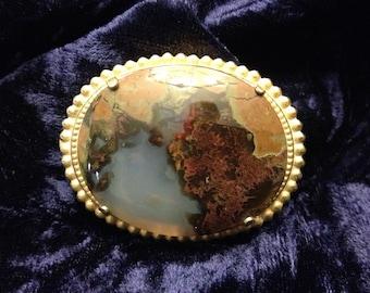 Vintage 1950s Gold Polished Agate Brooch