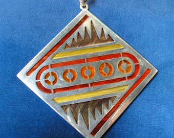 JANNA THOMAS PENDANT: Mexican Sterling & Pluma Azteca Feathers