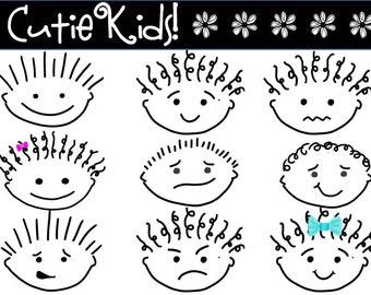 "Clip Art - ALMOST  F R E E B I E   - ""Cutie-Kids""  adorable cartoon faces - instant download"
