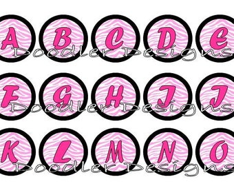 """Alphabet Pink Zebra 1"""" Digital Images for Scrapbooking, Bottle Cap, Jewelry and more"""