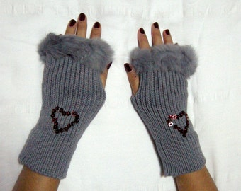 fingerless gloves, gray, gifts, Fall Fashion, winter Accessories, Wrist Warmers, Ready to ship