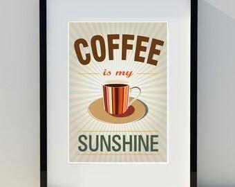 Art for home, vintage poster, kitchen, retro decor, scandinavian design, print, coffee, A3