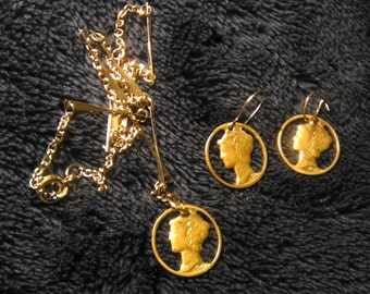 Vintage Handmade 1930's - 1940's Silver Liberty Dime Necklace and Earring Set