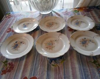 SALE 6 Edwardian Salad or Lunch Plates Antique Porcelain Was 42.00  Now 32.00