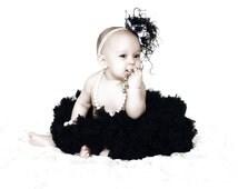 Baby girl's PREMIUM ruffle black pettiskirt tutu skirt petticoat twins triplets photo prop Newborn  size 6-12-24 months baby shower gift