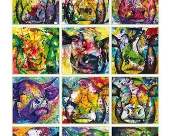 Colorful A3 Cow Birthday Calendar