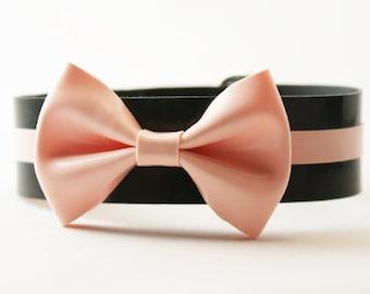 Latex Midi Bow and Stripe Wristband Cuff