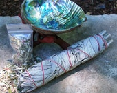 "White Sage Smudge Wand 8"", with Abalone Shell, Stand, and FREE sample blend"
