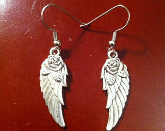 Angel Wing with Rose Earrings