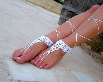 White Barefoot sandals. wedding sandals. hippie barefoot sandals , barefoot sandles, crochet barefoot sandals, , yoga, anklet