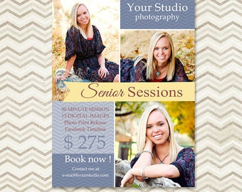 Senior Mini Session Photoshop Template - Photography Marketing Template 008 - Marketing Board - C027, INSTANT DOWNLOAD