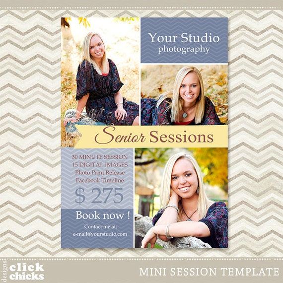 Senior mini session photoshop template photography marketing for Free senior templates for photoshop
