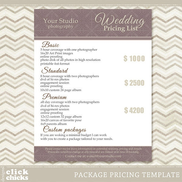 photography package pricing list template wedding packages With wedding photography package names