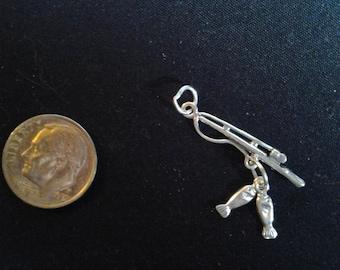 Sterling Silver Fishing Pole  charm / pendant Gone Fishing