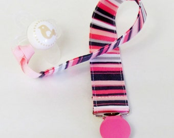 Pacifier Clip, Binky Clip, Pink and Gray Zoology Bloom Stripe, Michael Miller