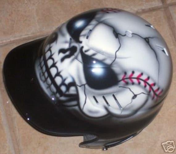 Airbrushed Batting Helmet Baseball Skull New Personalized