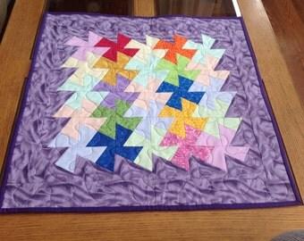 """22"""" square multicolored twister table topper"""