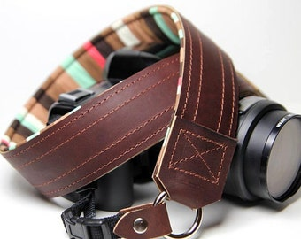 Custom Leather DSLR Camera Strap - Doutble Stitch Stripe