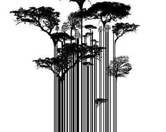 Street Art Banksy Style Barcode Trees Limited Edition Art Print