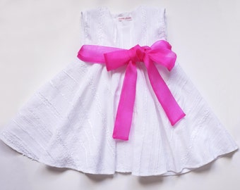 White Embroidered Full Circle 3 in 1 Dress.( Age 1-2 yrs Only )