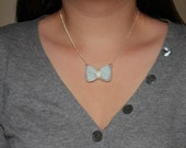 Mini Hand Knitted Bow Necklace
