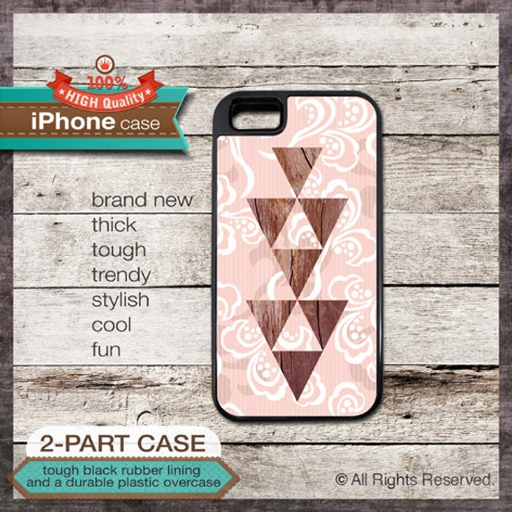 iPhone 6, 6+, 5 5S, 5C, 4 4S, Samsung Galaxy S3, S4 - Wood Geometric Pattern - Design Cover 02