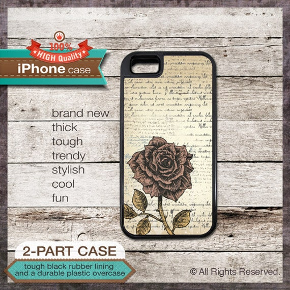 iPhone 6, 6+, 5 5S, 5C, 4 4S, Samsung Galaxy S3, S4 Vintage Rose Design 1