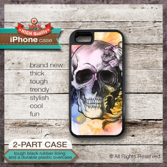 Skull and Flowers des1 - iPhone 6, 6+, 5 5S, 5C, 4 4S, Samsung Galaxy S3, S4