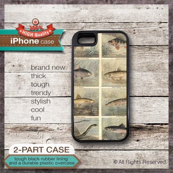 iPhone 6, 6+, 5 5S, 5C, 4 4S, Samsung Galaxy S3, S4 Vintage Fish Illustration