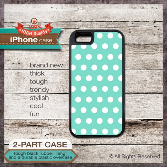 iPhone 6, 6+, 5 5S, 5C, 4 4S, Samsung Galaxy S3, S4 Modern Graphic 17a Polka dot on Teal