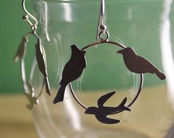 Silver Bird Hoop Earrings