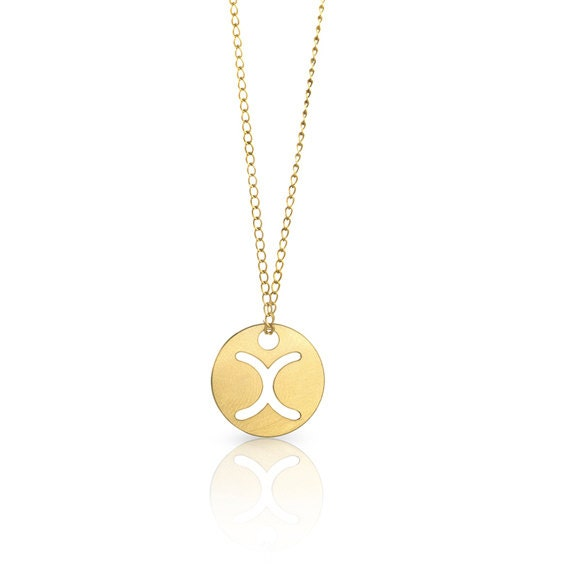 Disc letter necklace personalized initial necklace gold for Custom letter necklace gold