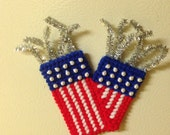 Firecracker magnet needlepoint plastic canvas