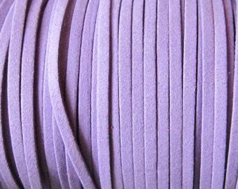 Purple Lilac Faux Leather Cord, Microsuede, Flat Microfiber 4 x 1.5 mm - 12 feet - 4 Yards