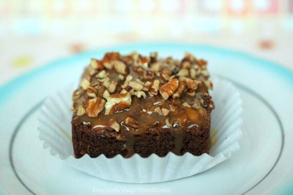 Turtle Brownies (6) Chocolate Caramel Pecan Brownie, Edible Gift