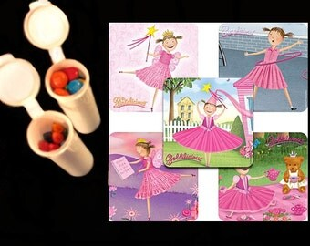 10 Pinkalicious stickers plus 10 candy/crayon tubes favors