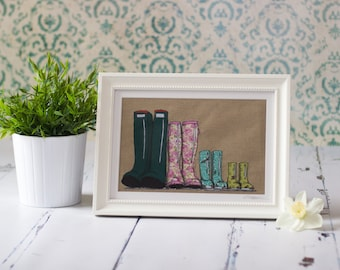 Family of Four Wellingtons original mixed media textile