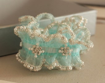 Wedding Garter in Blue  - Due drop pearls (Made to Order)
