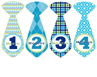 Monthly Baby Stickers Baby Month Stickers Blue Tie Milestone Stickers Boy Monthly Bodysuit Stickers Baby Shower Gift Photo Prop Cameron2