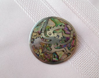 Mexican Sterling Silver Brooch and Pendant with inlaid Turquoise Vintage