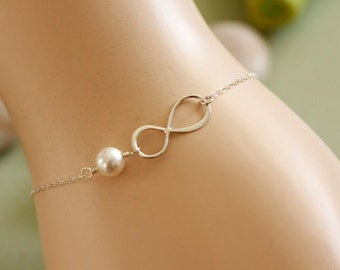 Sterling Silver Infinity Bracelet with pearl, everyday, wedding, bridesmaid gifts, best friends, mothers, sisters