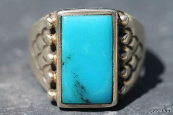 Vintage Signed Navajo Style Sterling Silver  Turquoise Men's Ring -New Old Store Stock