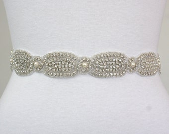 ARIANA - Bridal Crystal Rhinestone And Pearls Sash, Rhinestone Bridal Belt, Wedding Beaded Sash, Rhinestone Wedding Belts