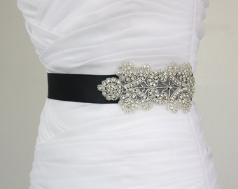 SALE - Best Seller - MIRANDA - Floral Crystal Rhinestone Bridal Sash, Beaded Wedding Sash, Rhinestone Bridal Belt