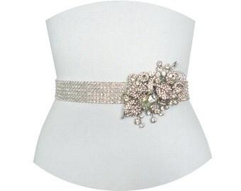 JACQUELINE II - Crystal Rhinestone Wedding Sash, Bridal Beaded Belt, Bridal Rhinestone Belts