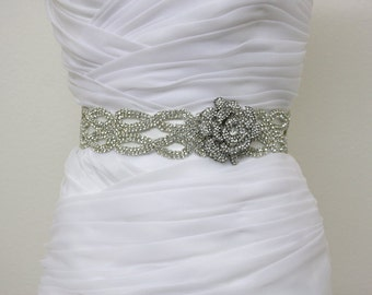 CATHERINE - Vintage Inspired Crystals Bridal Sash, Rose Bridal Belt, Wedding Beaded Sashes, Rhinestones Wedding Belts