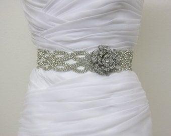 Sale- CATHERINE - Vintage Inspired Crystals Bridal Sash, Rose Bridal Belt, Wedding Beaded Sashes, Rhinestones Wedding Belts