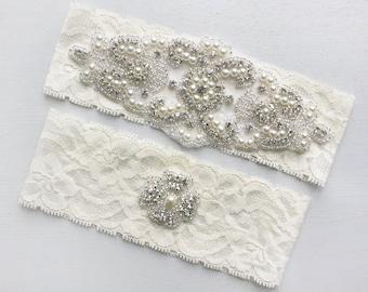 ALANA - Stretch Lace Garter, Pearl Wedding Garter Set, Rhinestone Crystal Bridal Garters, Keepsake Garter, Wedding Gift